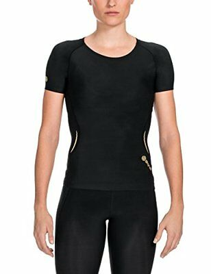 SKINS Women's A400 Short Sleeve Compression Top, Black,