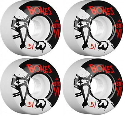 Bones Wheels Skinny Bones Skateboard Wheels (51-mm, Whi