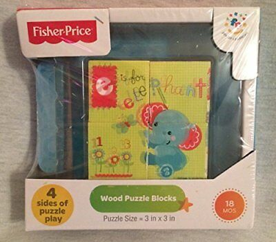 Fisher-Price Wood Puzzle Blocks [18 months 3inx3in ]