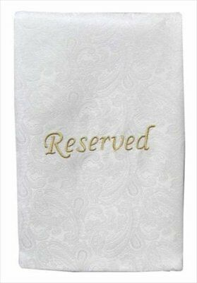 Pew Sash Reserved White with gold Letters