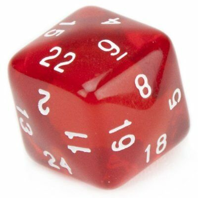 24 Sided Translucent Red D24 with White Numbers by Wiz