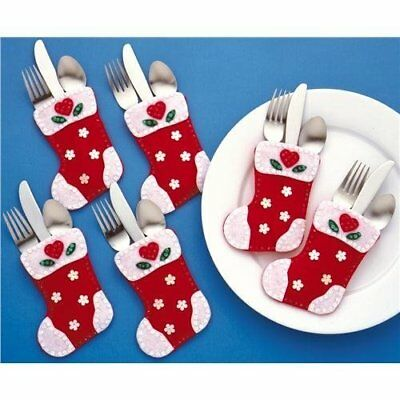 Christmas Stocking Silverware Pockets Felt Applique Kit