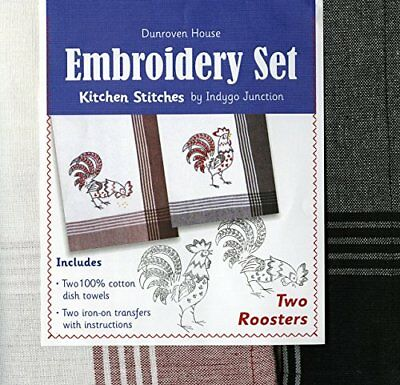 Dunroven House Two Roosters Kitchen Stitches Embroidery