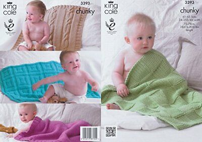 King Cole Comfort Chunky Knitting Pattern Baby Blankets