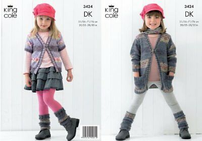 King Cole Girls Double Knitting DK Pattern Long or Shor