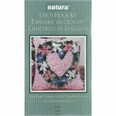"Caron Natura  Latch-Hook Kit, Heart Wreath, 12"" X 12"""