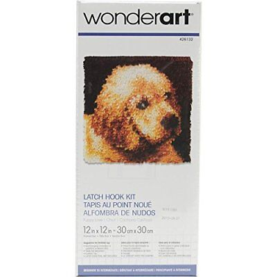 Wonderart Latch Hook Kit 12x12-Puppy Love