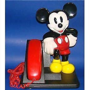 Disney Mickey Mouse Phone AT&T 1992 Red Black Telephone