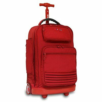 J World New York Women's Parkway Rolling Backpack, Red,