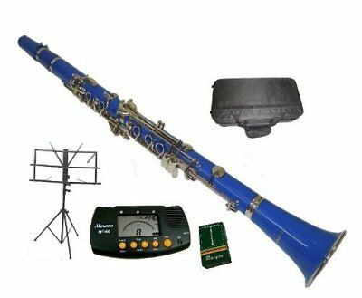 Merano B Flat Blue / Silver Clarinet with Case+MouthPie