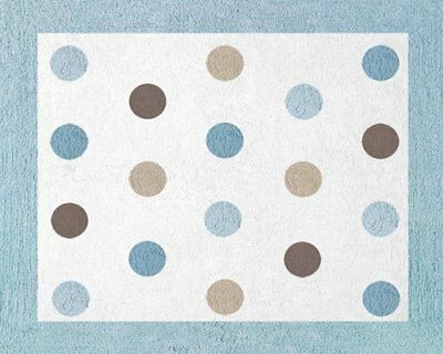 Blue and Brown Mod Dots Accent Floor Rug by Sweet Jojo
