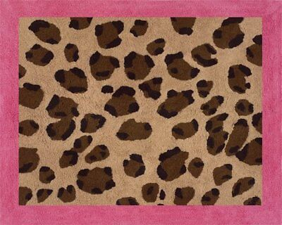 Cheetah Girl Pink and Brown Accent Floor Rug by Sweet J
