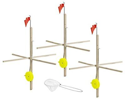 Celsius Ice Fishing ITU-3/KIT Wood Tip-Up with Line & N