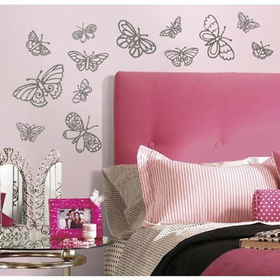 RoomMates RMK2637SCS Glitter Butterflies Peel and Stick