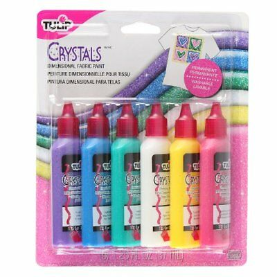 Tulip 15552 Dimensional Crystal Fabric Paint, 6-Pack