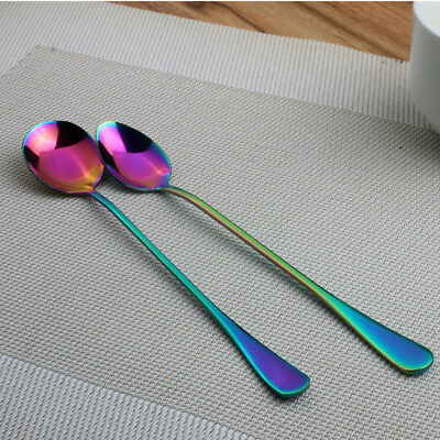 Colorful Tableware Craft Stainless Steel Long Handle Ice Cream Coffee Spoon #vf