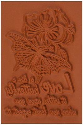Deep Red Stamps Love is Like a  Butterfly Rubber Stamp