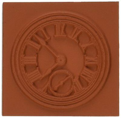 Deep Red Stamps Roman Clock Rubber Stamp