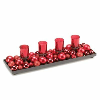 Home Locomotion Festive Red Candleholder With Glitterin
