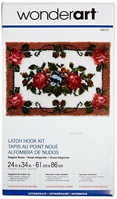 "Wonderart Elegant Roses Latch Hook Kit, 24"" X 34"""