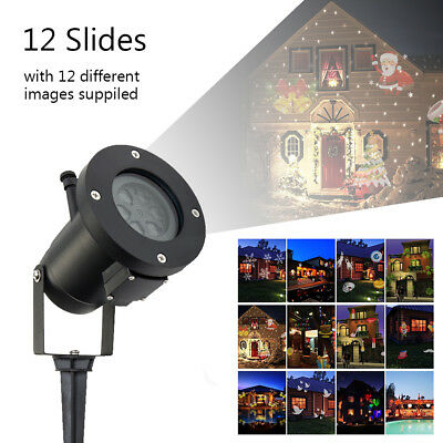 12 Patterns Laser Landscape Projector LED Light Halloween Xmas Party Decor Lamp