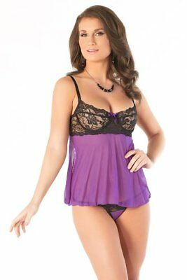 Coquette Women's Underwire Babydoll and G-String Set, B