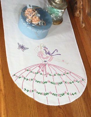 Stamped Perle Edge Dresser Scarf 15x42-Butterfly Lady