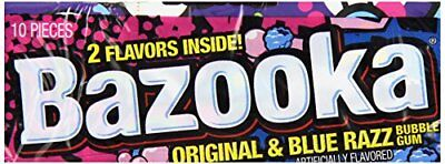 Bazooka Original and Blue Razz Bubble Gum, 10 Count (Pa