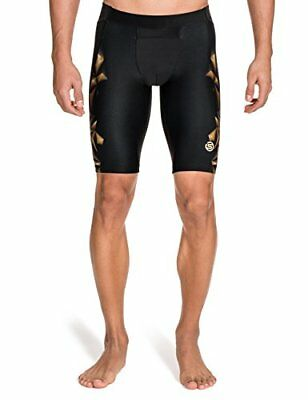 SKINS Men's A400 Compression Half Tights, Black/Gold, M