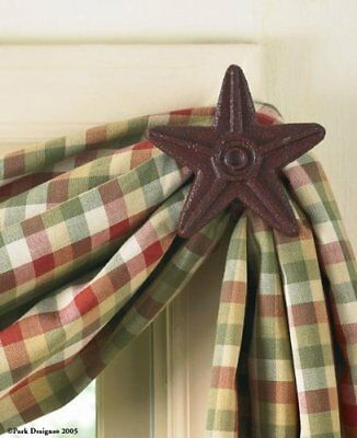 Park Designs Cast Star Curtain Hooks, Red, Includes 2 i
