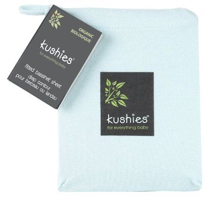 Kushies Organic Jersey Bassinet Fitted Sheet, Light Blu