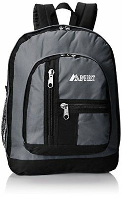 Everest Double Main Compartment Backpack, Dark Gray, On