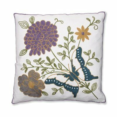 Pillow Perfect Butterfly Floral Embroidered Throw Pillo