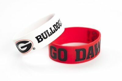 NCAA Georgia Bulldogs Silicone Rubber Bracelet, 2-Pack