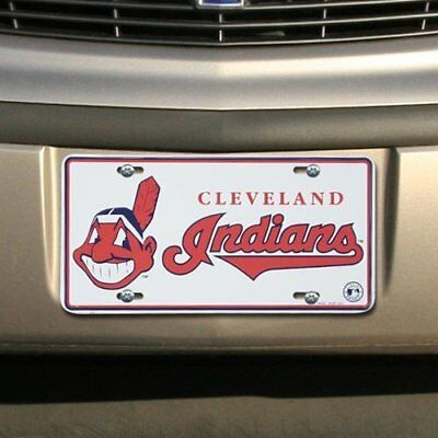Cleveland Indians White Metal License Plate