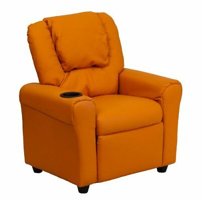 Flash Furniture Contemporary Orange Vinyl Kids Recliner