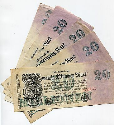 Germany 20 Million Mark Reichsbank Note dated 1923 Inflation Currency X 5 Pieces
