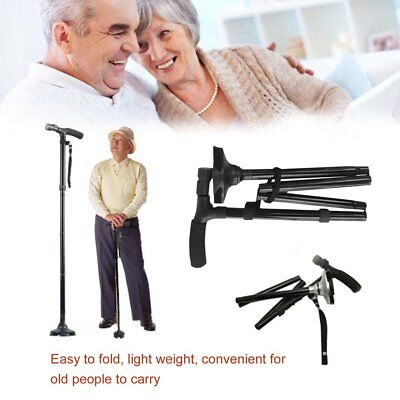 Mic Cane Folding LED Light Safety Walking Stick For Old Man T Handlebar ZZ