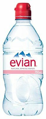 evian Natural Spring Water 750 ml Sport Cap, 12 Count