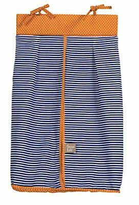 Trend Lab Stripe and Dot Diaper Stacker, Navy Blue/Oran