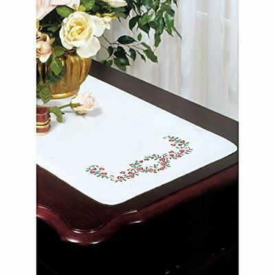 Stamped White Dresser Scarf For Embroidery 14x39-Heart