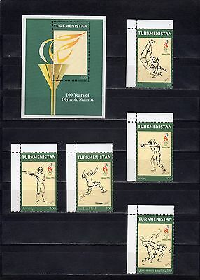 1996 Atlanta Olympics Turkmenistan unit and 5 stamps