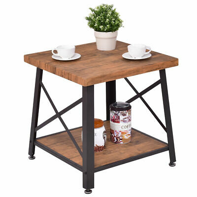 Square Coffee Table Cocktail End Metal Frame Wood Top W Storage Shelf New