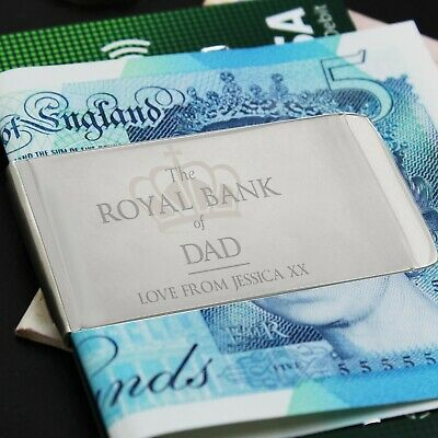 Personalised 'Royal Bank of... Money Clip Thank You Gift Birthday Christmas Gift