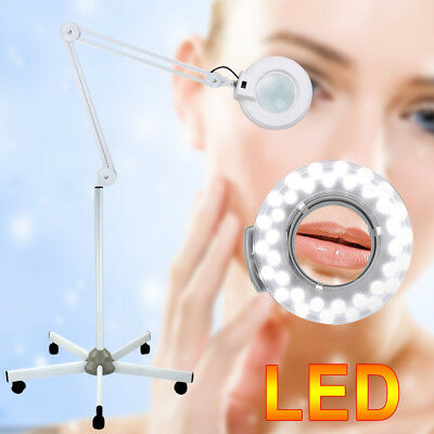 8XMagnifying Lamp Glass Lens Round Head LED Beauty Magnifier Rolling Floor Stand