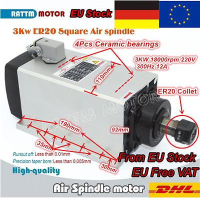 <EU/DE>  Quality 3KW Air Cooled Spindle Motor ER20 220V 18000rpm for CNC Router