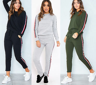 Womens Ladies Stripe Print Long Sleeve Top Joggers Loungewear Tracksuit Set