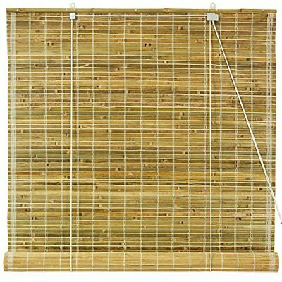 Oriental Furniture Burnt Bamboo Roll Up Blinds - Natura