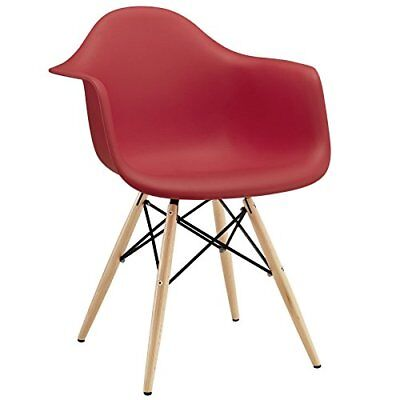 Modway Wood Pyramid Armchair in Red
