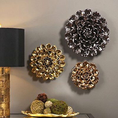 IMAX 64235 Metallic Ceramic Wall Flower, Large